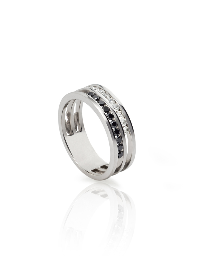 ANELL W-LINES BLACK&WHITE OR BLANC I DIAMANTS-001