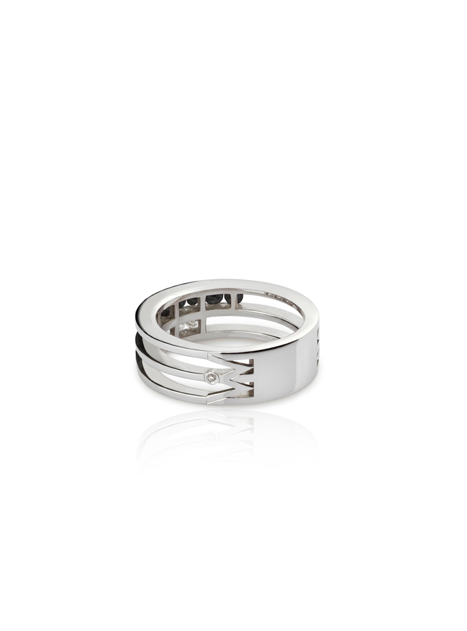 ANELL W-LINES BLACK&WHITE OR BLANC I DIAMANTS-002