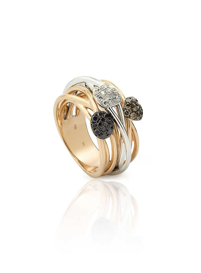 WESSELTON W-LINES RING ROSE AND WHITE GOLD AND DIAMONDS-001