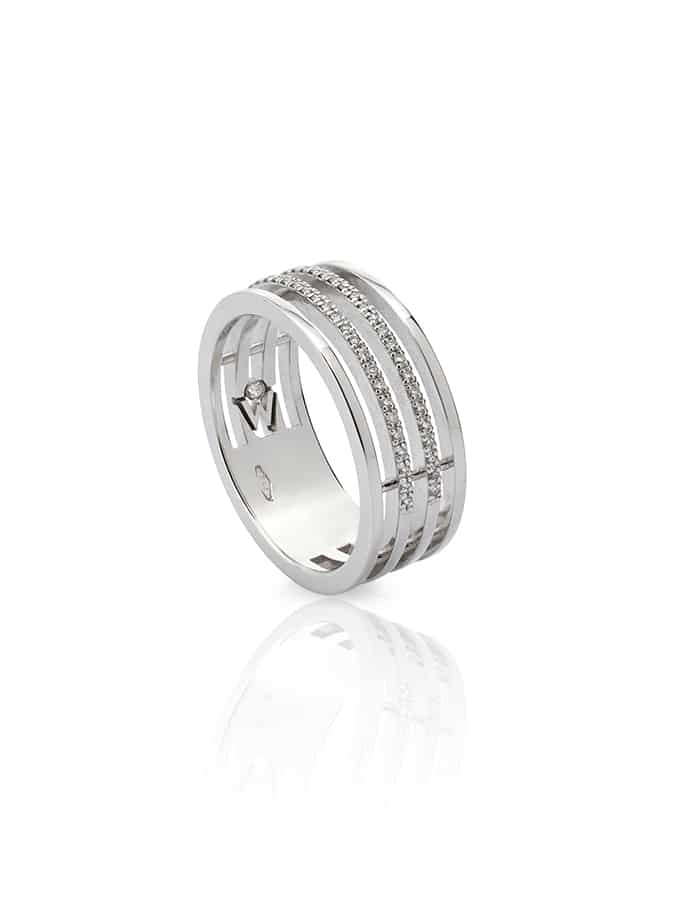 ANELL WESSELTON W-LINES OR BLANC I DIAMANTS-001