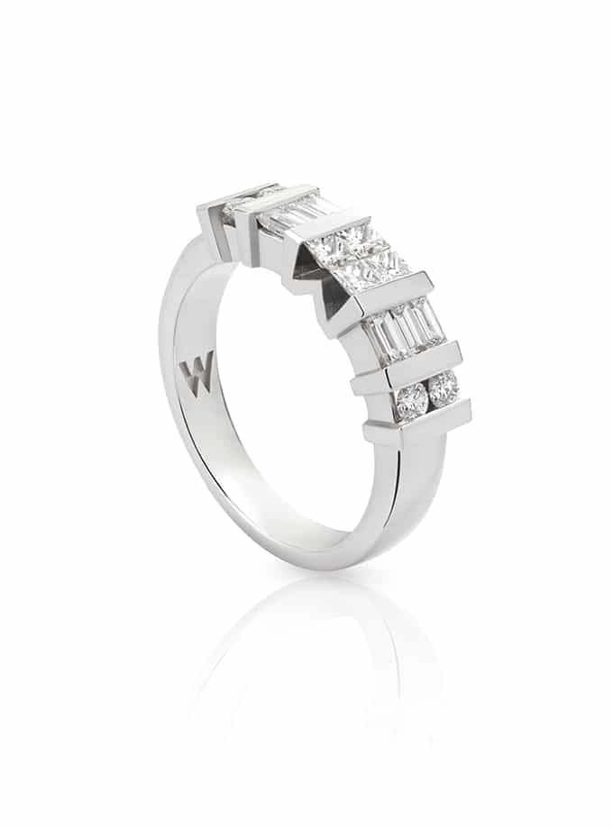 WESSELTON HALF BAND RING W-4YOU WHITE GOLD AND DIAMOND COLLECTION-001-001