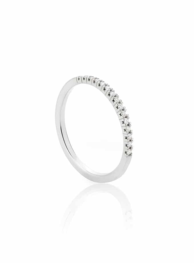 WESSELTON HALF BAND RING - WHITE GOLD WITH DIAMONDS-001