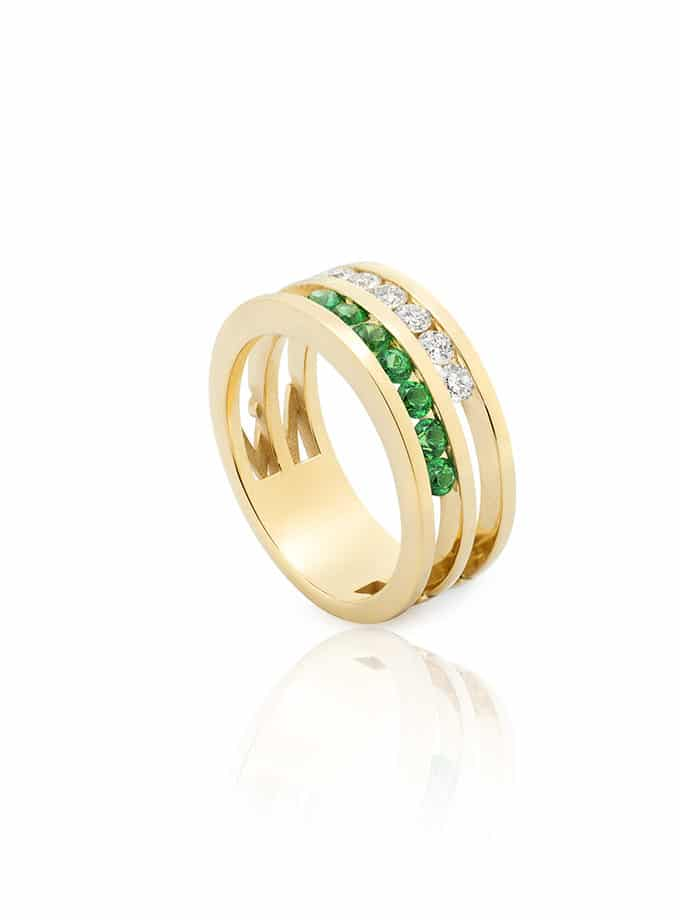 ANELL WESSELTON COL·LECCIÓ W-LINES WHITE&GREEN OR GROC I DIAMANTS-001