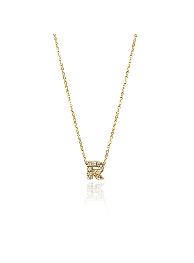 YELLOW GOLD AND DIAMOND R PENDANT-001