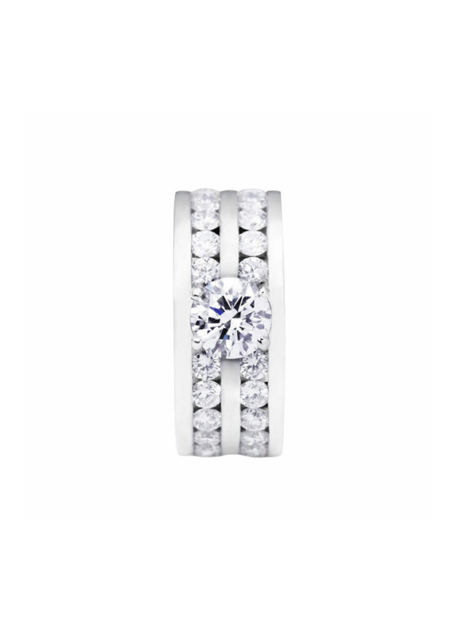 ANELL DOUBLE W-LINES OR BLANC I DIAMANTS