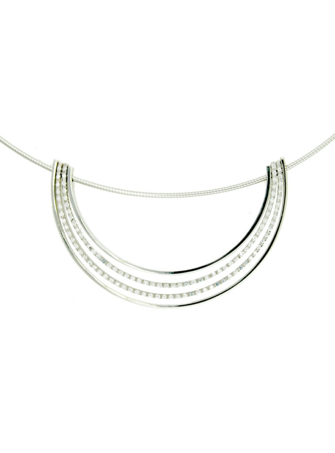 COLLARET W-LINES OR BLANC I DIAMANTS
