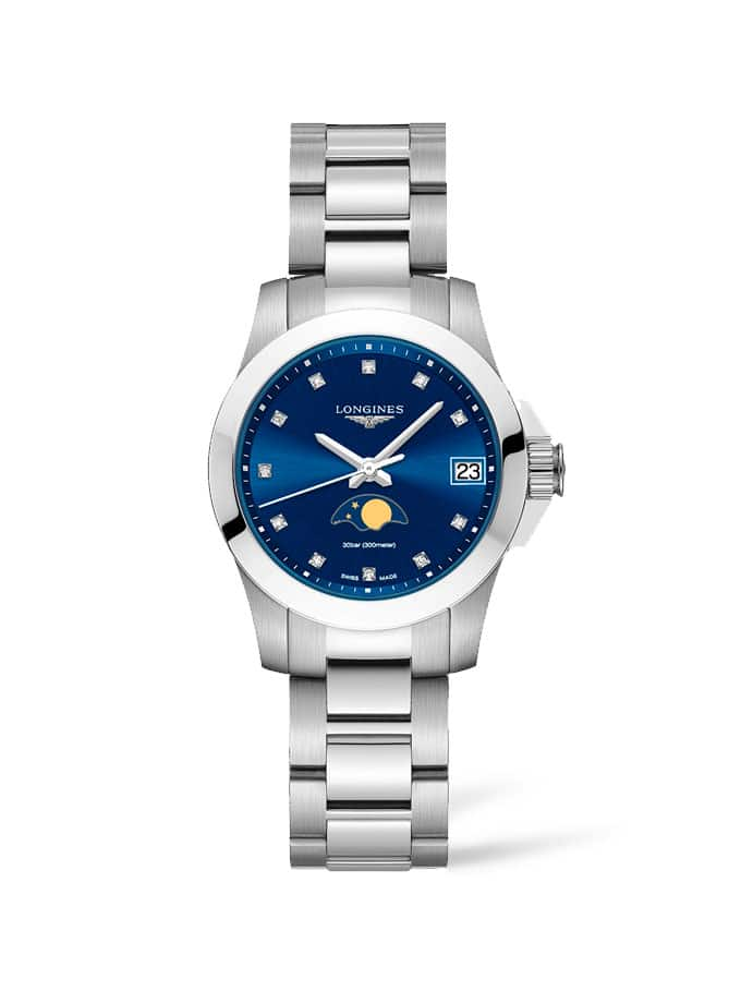 LONGINES CONQUEST SRA. BLAU, FASES LLUNARS I INDEXS BRILLANTS