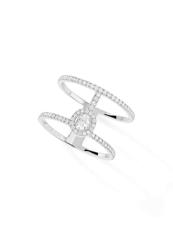 ANELL MESSIKA - GLAM'AZONE 2 BANDES PAVÉ - OR BLANC