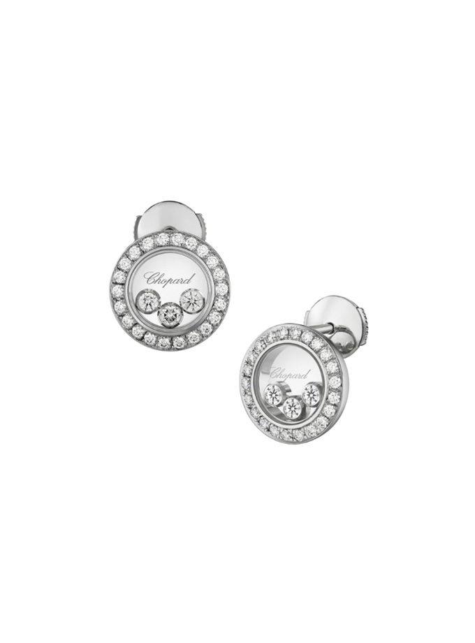 CHOPARD EARRINGS - HAPPY DIAMONDS ICONS - WHITE GOLD, DIAMONDS-001